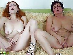 Oldnanny busty bbw dam och lesbisk rödhårig tonåring